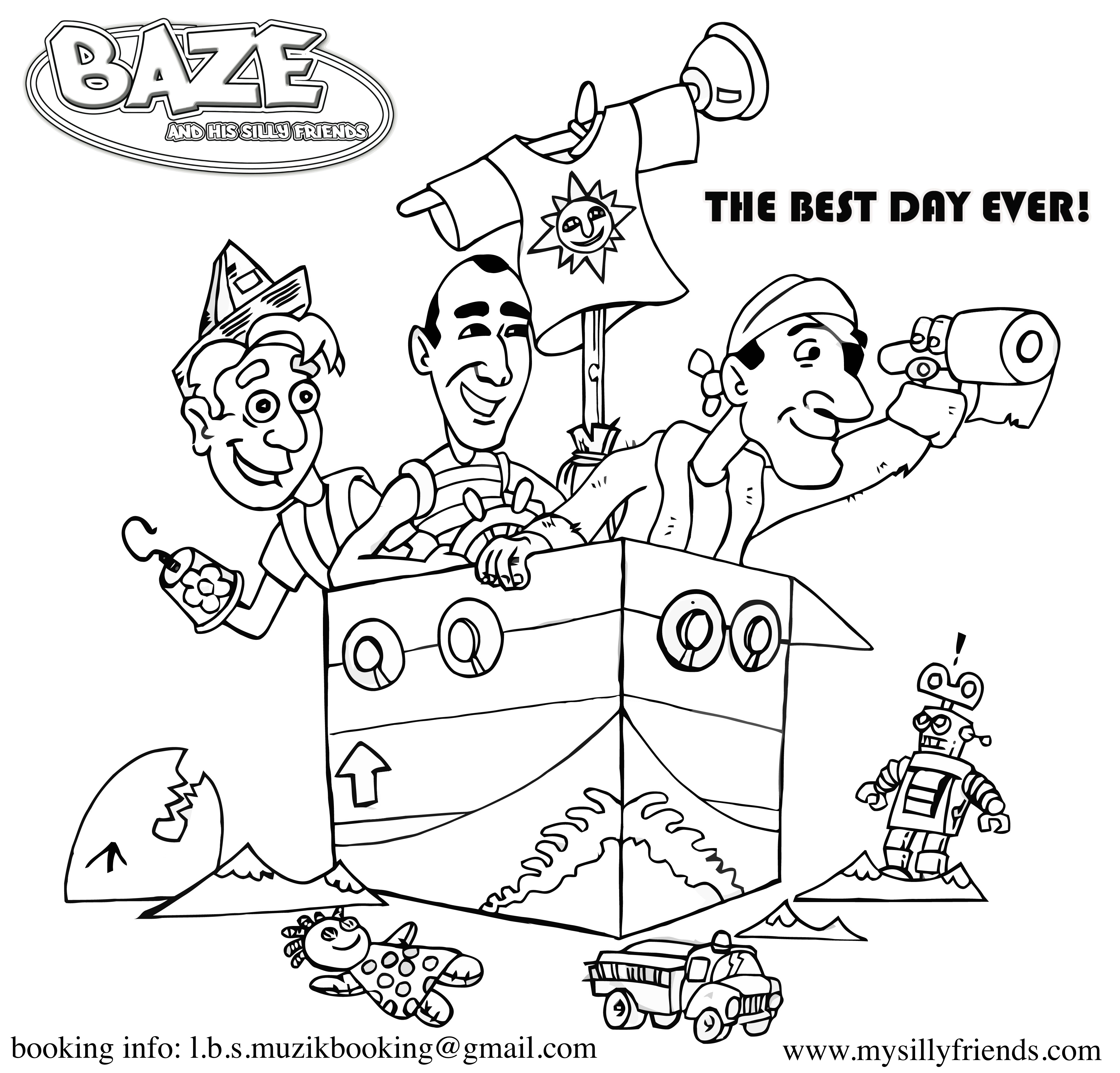 coloring pages family fun baze and his silly friends